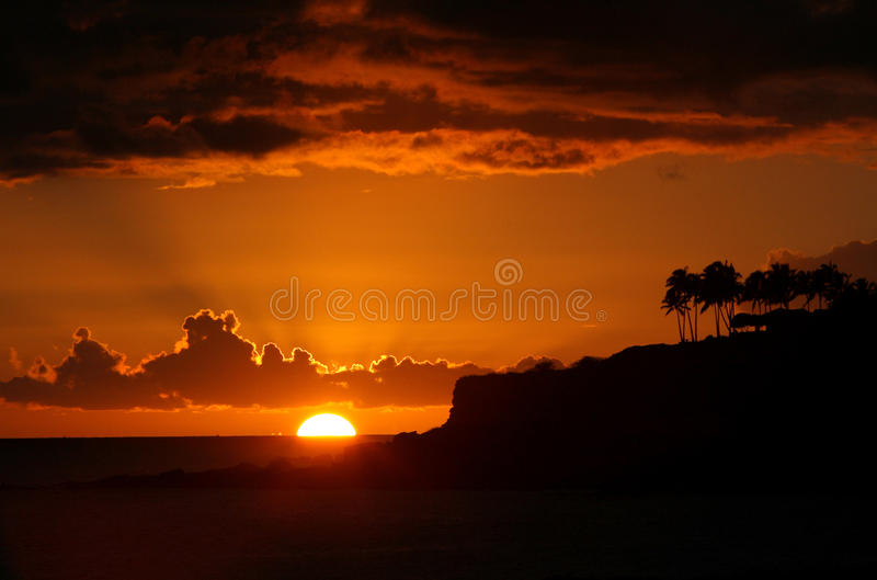 Por do sol em Lanai Havaí fotos de stock