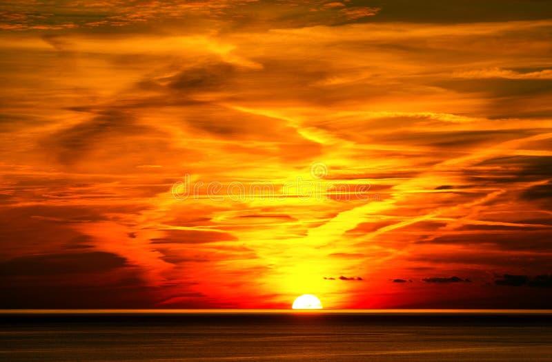Por do sol em Liguria Itália imagens de stock