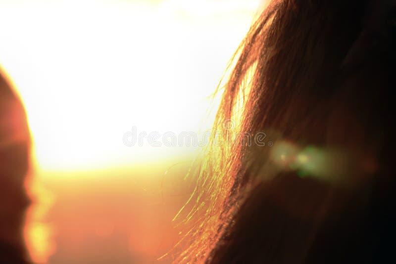 Por do sol em Londres o cabelo da menina do estilhaço imagens de stock