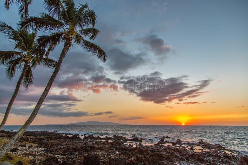 Por do sol em Maui, Hawai'i imagem de stock