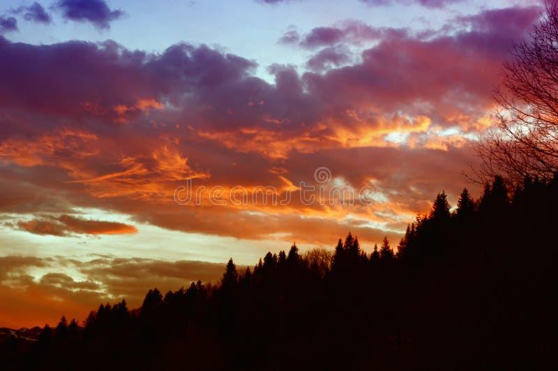Por do sol em Mavrovo fotografia de stock