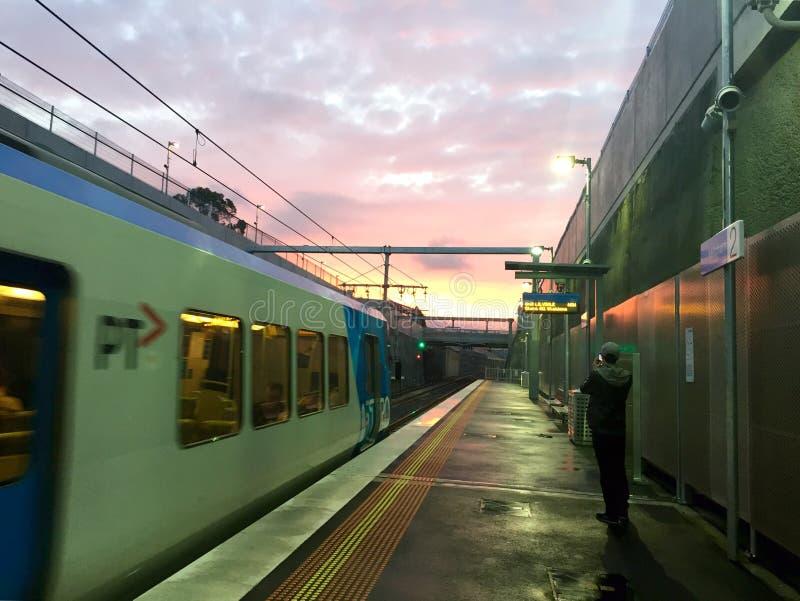 Por do sol em Melbourne fotos de stock
