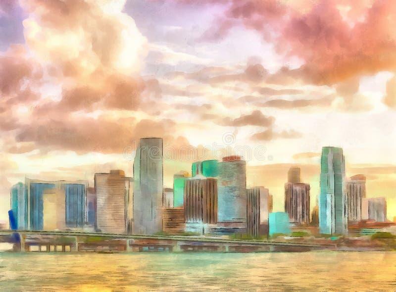 Por do sol em Miami, Florida ilustração do vetor