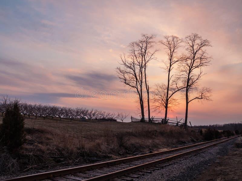 Por do sol em Monmouth foto de stock