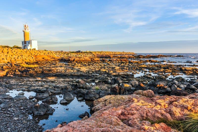 Por do sol em Montevideo, Uruguai foto de stock