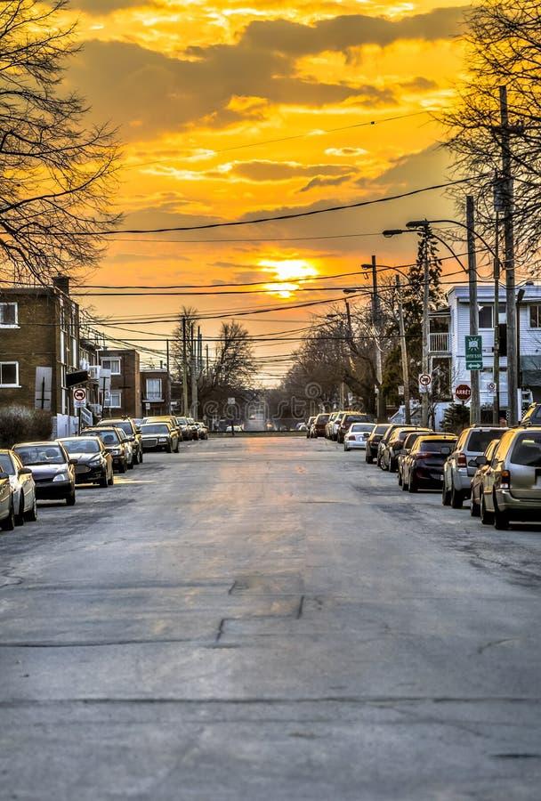 Por do sol em Montreal imagens de stock