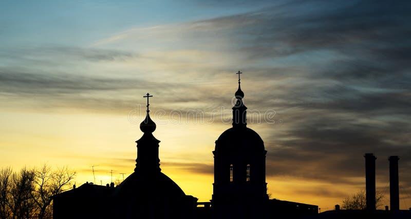 Por do sol em Moscou, Rússia foto de stock