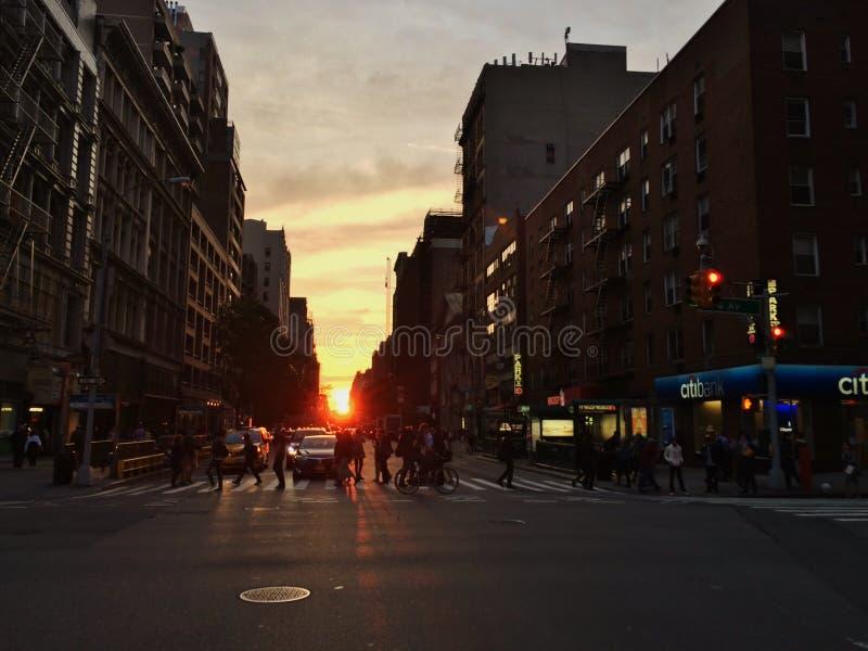 Por do sol em New York City imagem de stock