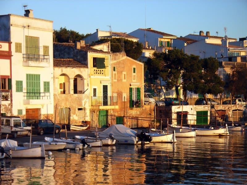 Por do sol em Porto Colom foto de stock royalty free