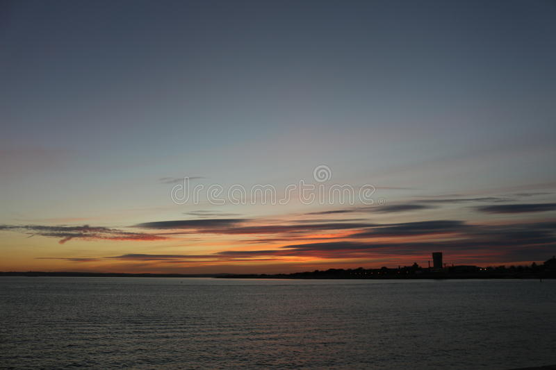 Por do sol em Portsmouth Reino Unido fotografia de stock royalty free