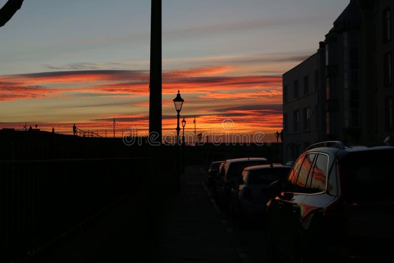 Por do sol em Portsmouth Reino Unido imagem de stock