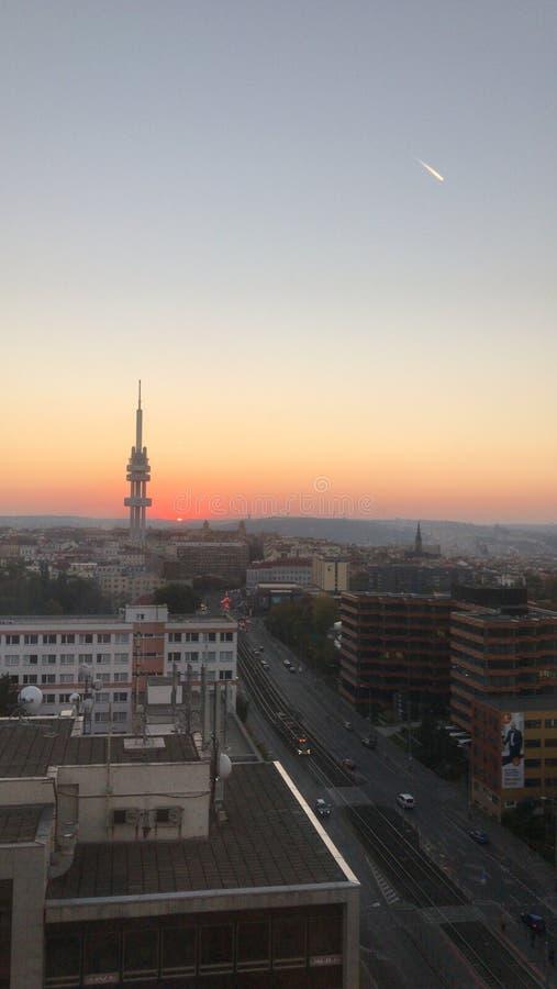 Por do sol em Praga imagem de stock royalty free