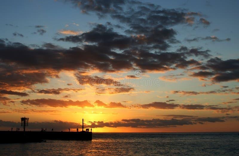 Por do sol em Reunion Island imagens de stock