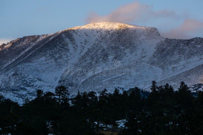 Por do sol em Rocky Mountain National Park fotos de stock royalty free