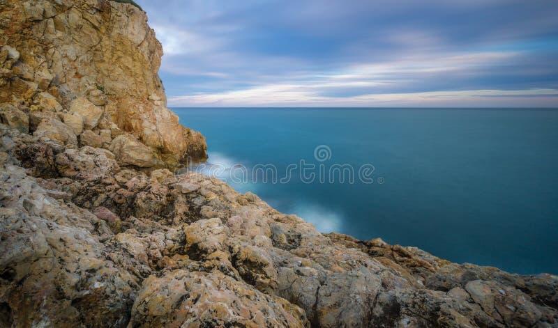 Por do sol em Salou - Espanha imagem de stock royalty free