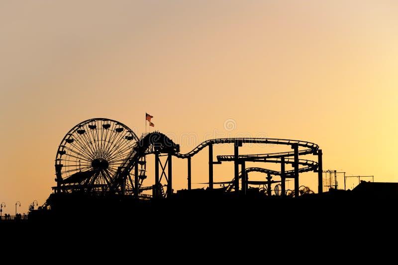 Por do sol em Santa Monica Pier fotografia de stock