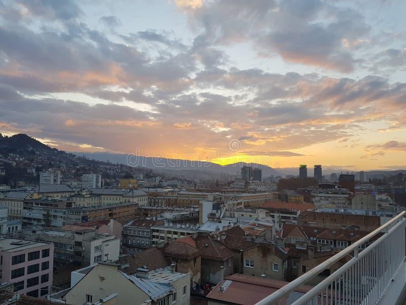 Por do sol em Sarajevo fotografia de stock royalty free