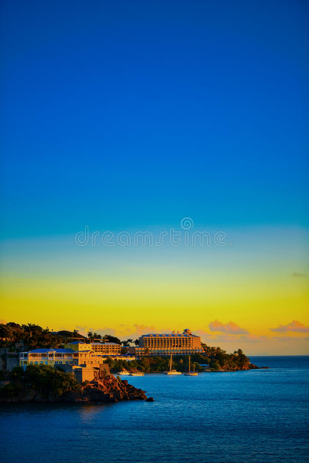 Por do sol em St Thomas fotografia de stock