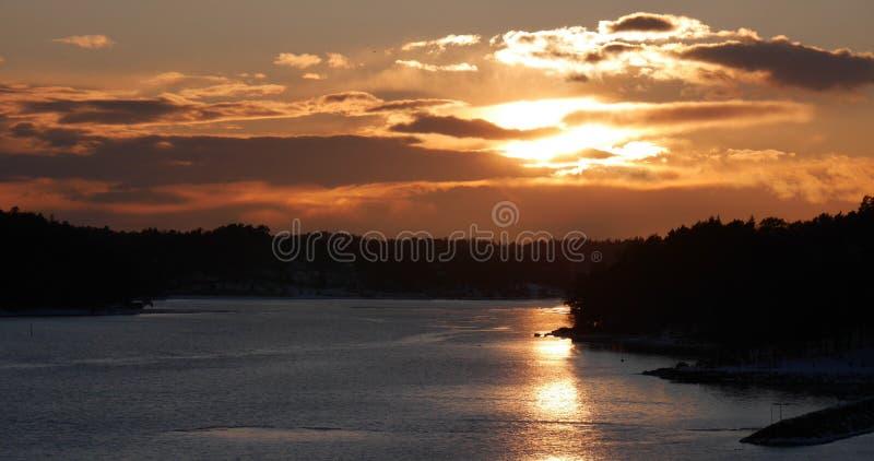 Por do sol em Sweden fotografia de stock royalty free