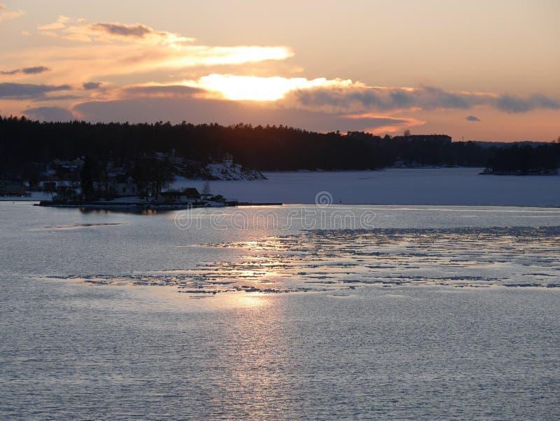 Por do sol em Sweden imagens de stock