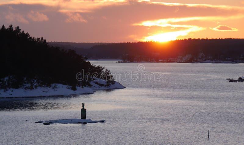 Por do sol em Sweden imagens de stock royalty free