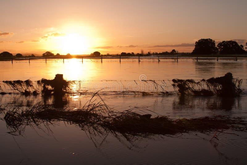 Por do sol em um rio inundado imagens de stock