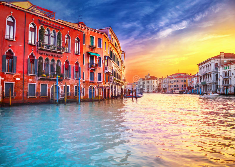 Por do sol em Veneza fotos de stock royalty free