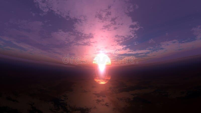 Por do sol entortado ilustração do vetor