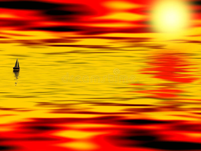 Por do sol espanhol ilustração royalty free