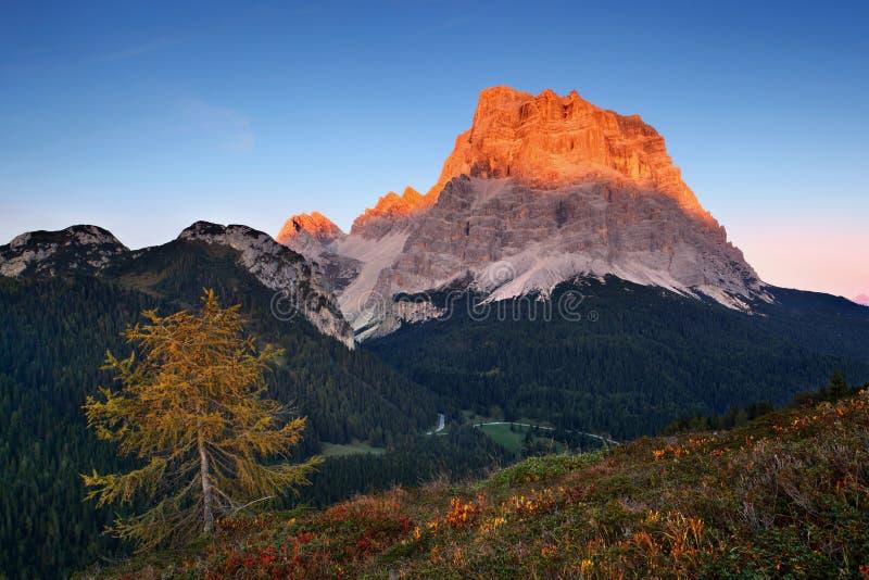 Por do sol fant?stico nas montanhas das dolomites, Tirol sul, It?lia no outono Panorama alpino italiano na montanha de Dolomiti n fotografia de stock royalty free