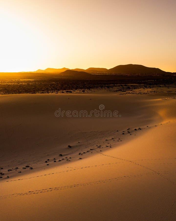 Por do sol Fuerteventura das dunas de Corralejo, Ilhas Canárias fotografia de stock