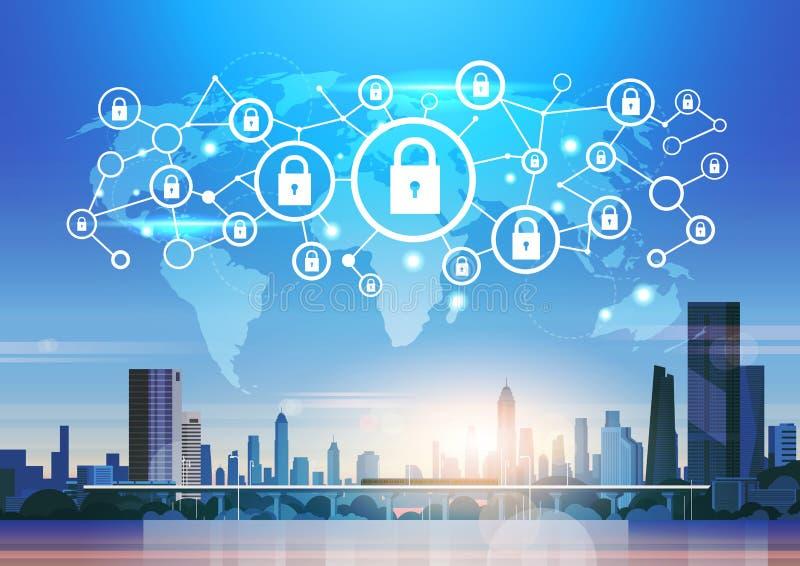 Por do sol futurista da skyline do conceito da conexão da privacidade de dados da rede da proteção de segurança do ícone do cadea ilustração do vetor