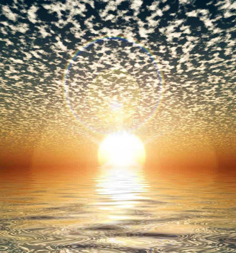 Por do sol gerado por computador ilustração royalty free