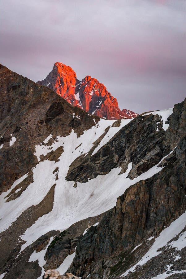 Por do sol grande 2 do parque nacional de Teton fotografia de stock royalty free