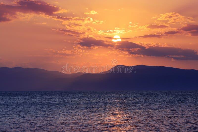 Por do sol Greece imagens de stock