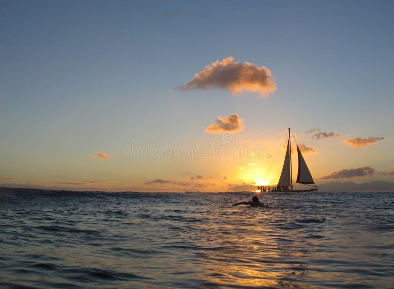 Por do sol havaiano imagens de stock royalty free