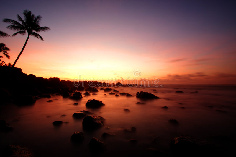 Por do sol havaiano imagem de stock royalty free