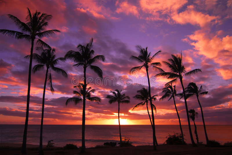 Por do sol havaiano em Molokai imagens de stock