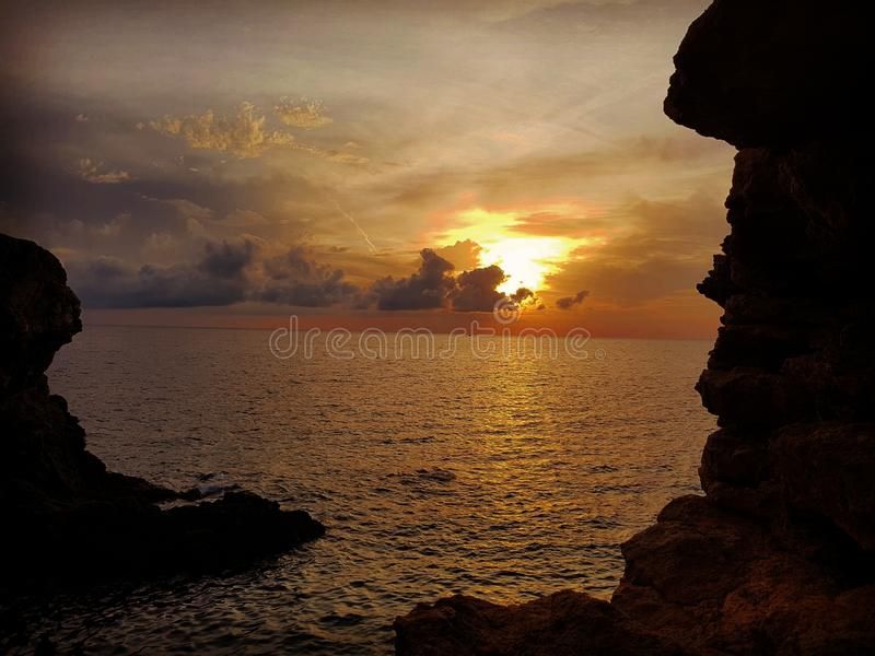 Por do sol Ibiza imagem de stock