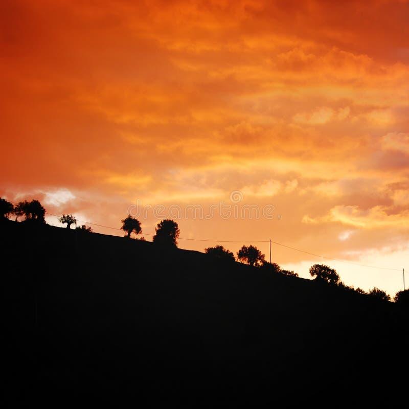 Por do sol Ideia cênico da noite de Sicília Foto envelhecida imagem de stock