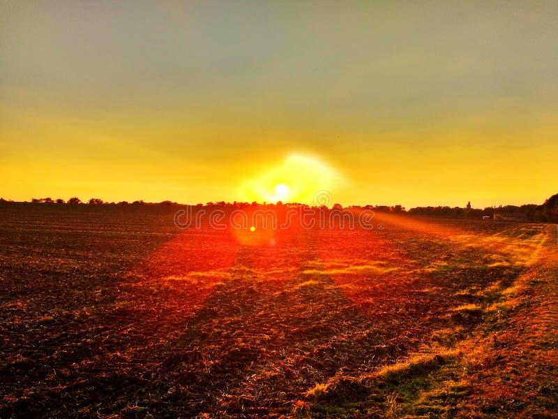 Por do sol impressionante do campo fotos de stock royalty free