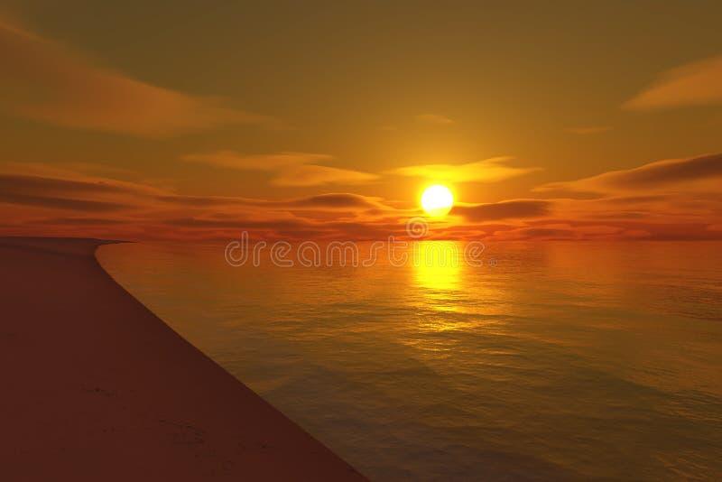 Por do sol infinito da praia ilustração royalty free