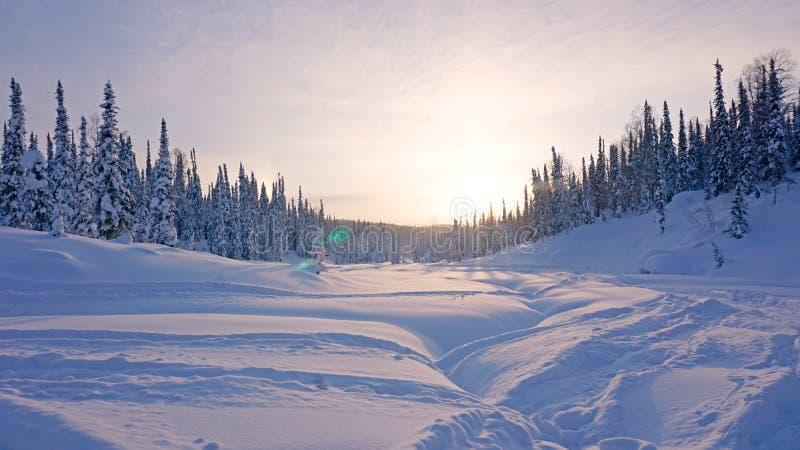 Por do sol do inverno nas montanhas Taiga, neve a fim de que não, Rússia imagens de stock royalty free