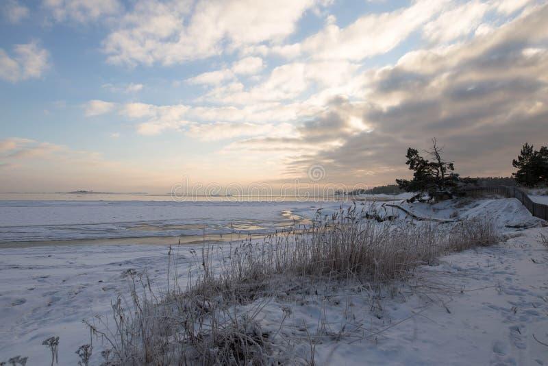 Por do sol do inverno pela praia imagem de stock royalty free