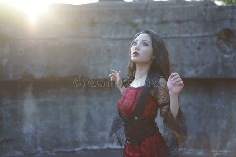 Por do sol do jardim da ruína da mulher da bruxa fotos de stock royalty free
