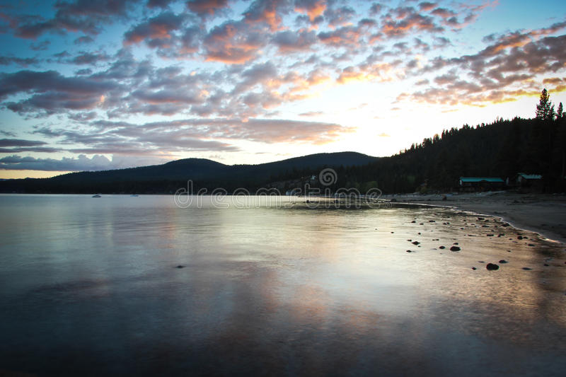 Por do sol Lake Tahoe imagem de stock