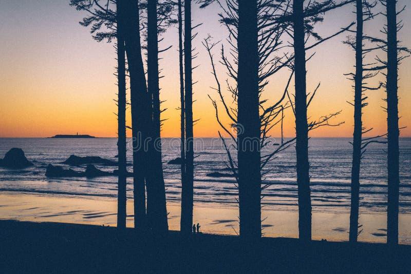 Por do sol litoral fotografia de stock
