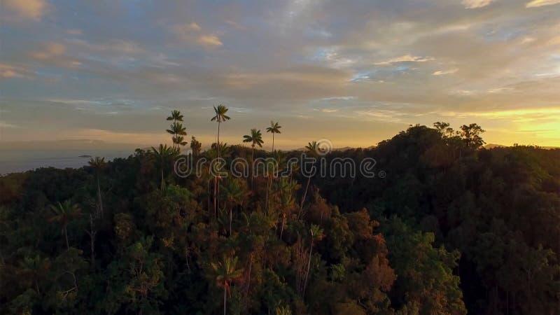 Por do sol litoral dramático com ilha fotos de stock royalty free