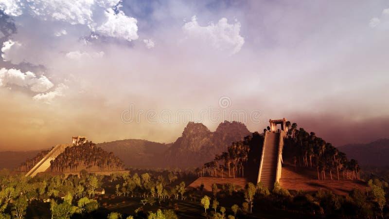Por do sol maia do templo ilustração do vetor