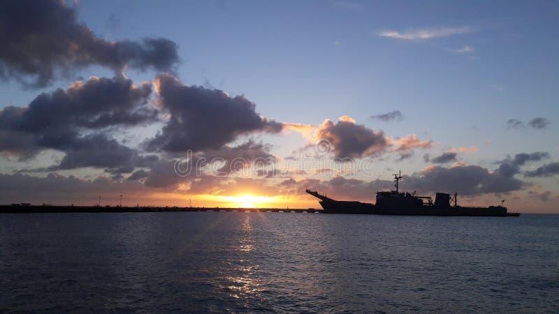 Por do sol marinho fotografia de stock royalty free